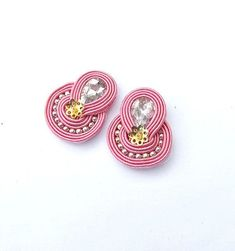 Long clip on earrings, Colorful pompom earrings, Handmade soutache earrings, turquoise earrings Bead Embroidery Jewelry, Beaded Jewelry Patterns, Fabric Jewelry, Beaded Embroidery, Silk Bangles, Gold Bridal Earrings, Soutache Necklace, Turquoise Earrings, Fabric Flowers