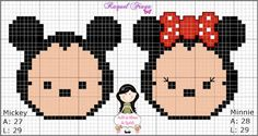 Mickey and Minnie Mouse x-stitch