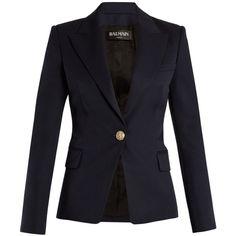 Balmain Single-breasted peak-lapel wool blazer (6.480 RON) ❤ liked on Polyvore featuring outerwear, jackets, blazers, navy, military blazer, wool blazer, blue military jacket, navy blue blazer and navy wool blazer