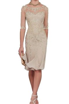 Half Sleeves Chiffon Lace Mother of the Bride Dresses - Fashion: Festliche Kleidung - Bride Half Sleeve Dresses, Mob Dresses, Tea Length Dresses, Half Sleeves, Formal Dresses, Chiffon Dresses, Lace Chiffon, Chiffon Skirt, 20s Style Dresses