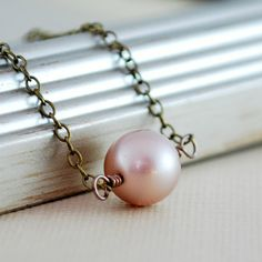 Pearl Choker Antiqued Brass Floating Necklace by LivEveryDay, $20.00