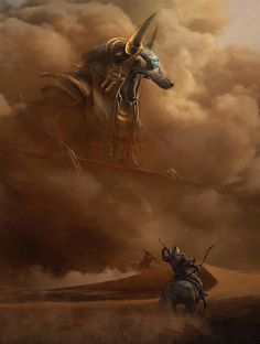 View an image titled 'Anubis God Battle Art' in our Assassin's Creed Origins art gallery featuring official character designs, concept art, and promo pictures. Foto Fantasy, Fantasy Art, Dark Fantasy, Fantasy Creatures, Mythical Creatures, Digital Art Illustration, Assassins Creed Origins, Assassins Creed Comic, Assassins Creed Tattoo