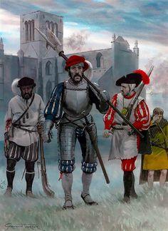 """The siege of Haddington, 1548-49: • Spanish caliverman • German mercenary captain • Italian mercenary • Highland archer"", Graham Turner"