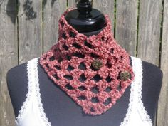 Chenille mauve crochet neckwarmer with buttons, scarflette on Wanelo