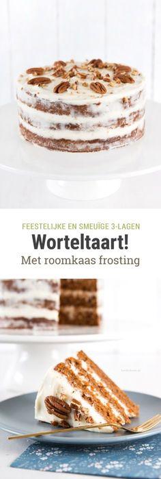 recept voor worteltaart / carrot cake met roomkaas frosting. Een feestelijke taart van 3 lagen, voor elke gelegenheid! :)