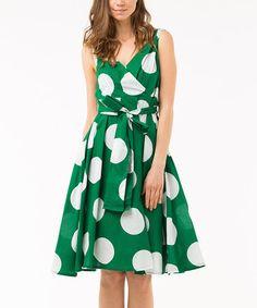 Loving this Green & White Polka Dot Tie-Waist Surplice Dress on #zulily! #zulilyfinds