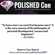 "To have more we must first become more it is the very essence of the philosophy of personal development success and happiness"" -  Jim Rohn  Reserve Your Seat at  http://ift.tt/2krwtki"