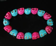 Cool Howlite Turquoise Twin colours Hot Pink Cyan Skull Beads Stretch Bracelet