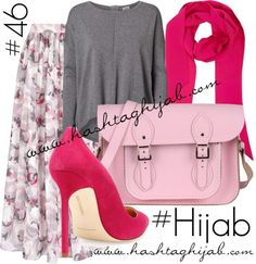 Hijab Fashion 2016/2017: Hashtag Hijab Outfit pink grey floral