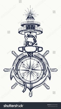 72604032 anchor steering wheel compass lighthouse tattoo art symbol of maritime adventure tourism travel old 13 Kunst Tattoos, Body Art Tattoos, Sleeve Tattoos, Tatoos, Sleeve Tattoo Designs, Tree Tattoos, Bird Tattoos, Feather Tattoos, Nature Tattoos