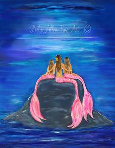 Mermaid Art Print Mermaids Mermaid Painting by LeslieAllenFineArt