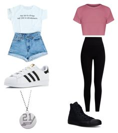 """Idk :P"" by lunaxtop ❤ liked on Polyvore featuring adidas, Pepper & Mayne and Converse"