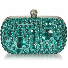 Sparkly Crystal Satin Clutch Purse ($44) ❤ liked on Polyvore featuring bags, handbags, clutches, green, evening handbags, green handbags, blue clutches, special occasion clutches and evening clutches
