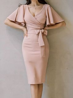 Daily Butterfly Sleeves Slim Bodycon Dress Solid Colored Ruched High Waist V Neck Summer Cotton Pink M L XL / Sexy Mode Outfits, Dress Outfits, Fashion Outfits, Style Fashion, Classy Dress, Classy Outfits, Elegant Dresses Classy, Bodycon Dress With Sleeves, Short Sleeve Dresses