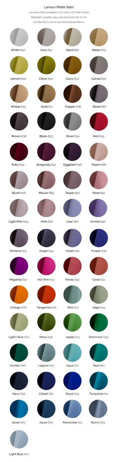 Lamour Matte Satin, the luxurious fabric available in 57 colors and is wide. Flame Retardant, durable, easy care and color fast. Formal Dress Patterns, Matte Satin, Pride And Prejudice, Fabric Swatches, Color, Fashion, Moda, Fashion Styles, Colour