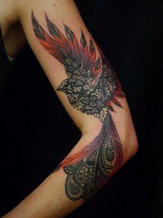 Phoenix Tattoos Vogel Tattoos Arm, Bird Tattoos Arm, Bird Tattoos For Women, Sleeve Tattoos For Women, Feather Tattoos, Tattoo Sleeve Designs, Forearm Tattoos, Hand Tattoos, Tattoos For Guys