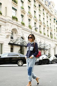 Denim On Denim: 5 Ways To Stylishly Double Up Song Of Style, Who What Wear, Stilettos, Boyfriend Jeans, Mom Jeans, Estilo Blogger, Street Style 2016, Cool Style, My Style