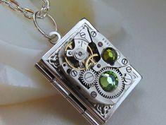 Steampunk book locket necklace watch  movemen Swarovski crystals  Birthday women writer reader gift  photo locket silver locket wife gift