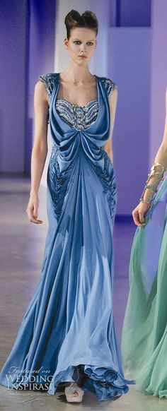 blue gown with gorgeous draping in cornflower blue