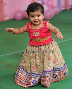 Baby in Floral Net Weave Lehenga - Indian Dresses