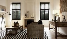 Wood Blinds. Material: High Gloss. Color: Black.  #custom #shades #blinds #drapes #design #inspiration #windowtreatments
