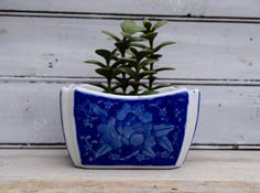 Blue and White Planter Blue and White by SweetPetuniaVintage