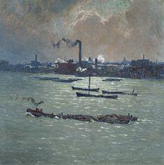 Émile Claus (Belgian, 1849-1924), Reflets sur la Tamise [Reflections on the Thames], 1916. Canvas, 81.5 x 81 cm.