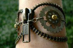 Yolo Antique Brass Zipper Bracelet