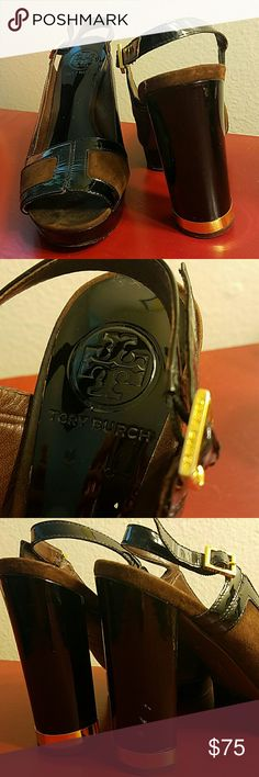 Tory Burch platform heels Chocolate brown suede and black patent leather Tory Burch heels. Looks great with black and brown outfits, jeans, and dresses. Gold hardware, including the signature metal band at the base of the heel.   3.5 - 4 inch heel with 1 inch platform (see my thumb for size comparison). Size 7, but fits like a roomy 7.5!!!   Slight scuffs (pictured), but could come off with polish.   Questions? I'll answer em! Tory Burch Shoes Platforms
