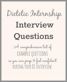 Dietetic Internship Interview Questions