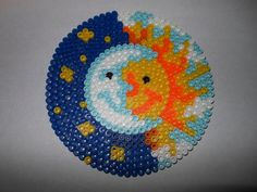 Perler Bead Magnet Sun and Moon by BassetMamaMcG