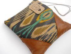 silk and leather shoulder bag purse leather bag handbag cross body bag. $69.00, via Etsy.