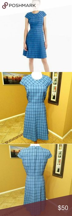 "J. Crew Blue Windowpane Tweed Dress EUC 58% Cotton 29% Polyester  13% Viscose No flaws to my knowledge.  Armpit to armpit 18"" Waist 14.5"" Length 37"" This dress also has pockets people! POCKETS! J. Crew Dresses"