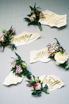 Styled bouts for spring, jasmine, ranunculus, with hand-lettered tags; such a beautiful color palette for a spring wedding! / photo by feather & twine / florals by pollen events / styling by Lindsey Zamora / hand-lettering she in the making Writing Your Own Vows, Rose Boutonniere, Boutonnieres, Pretty Names, High School Sweethearts, Industrial Wedding, Ranunculus, Name Cards, Event Styling