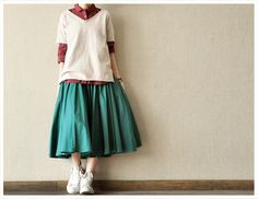 Green Causel Clothing Cotton Big Hem Women Long Linen Skirt--Women Clothing-4colours on Etsy, $53.00