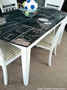 Fun chalkboard table for kids' playroom