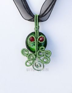 cthulhu wire wrapped pendant