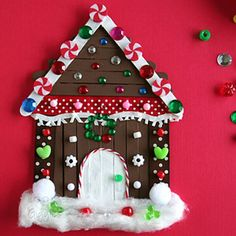 Kids' gingerbread house craft made with popsicle sticks and non-food items from the craft box. This is a big kid activity that will hold their attention! Includes a story to accompany the craft. Popsicle Stick Christmas Crafts, Popsicle Stick Houses, Christmas Arts And Crafts, Popsicle Crafts, Craft Stick Crafts, Kids Christmas, Holiday Crafts, Craft Box, Craft Sticks