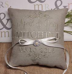 Ring Bearer Pillow embroidered ring bearer by ElegantThreadsEtc
