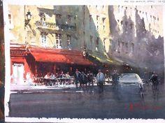 Joseph Zbukvic, Red Awning Paris 35x26cm