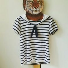 24 HR SALE.       Adorable sailor nautical shirt Navy blue. Pink anchors. Excellent condition. Sz small to medium Tops