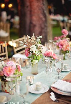 Mint and Pink Wedding Tablescape