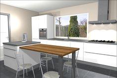 Afbeeldingsresultaat voor kookeiland in kleine keuken Eat In Kitchen, Kitchen Island, Dining Bench, Kitchen Design, New Homes, Interior, Table, Room, House