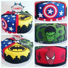 SUPERHERO CAKE Pj Masks Birthday Cake, Avengers Birthday Cakes, Superhero Birthday Cake, Birthday Party For Teens, Superhero Party, 4th Birthday, Marvel Cake, Batman Cakes, Cake Minecraft