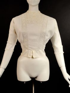 1912 White Linen & Irish Crochet Shirt Waist