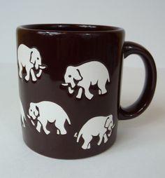 Vintage Waechtersbach Coffee Mug Brown with Elephant Design West Germany | eBay