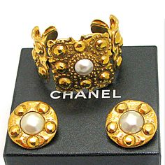 CHANEL, rare vintage cuff and earrings circa 1980-90's