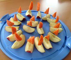 Apfelschiffchen.  Für die Geburtstagsfeier in der Schule: Kleine, schnell zubereitete Boote aus Apfel und Karotte.