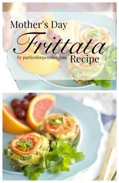 Easy Frittata Recipe for Mother's Day by PartiesforPennies.com   Perfect breakfast or brunch recipe! Great for a bridal shower, baby shower, or bridal brunch!