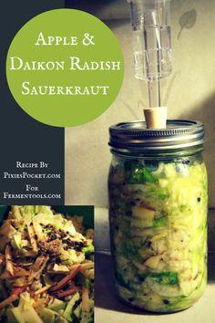 Apple & Daikon Radish Sauerkraut recipe from Pixiespocket.com featuring #fermentools